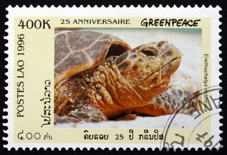 LAOS - CIRCA 1996: a stamp printed in Laos shows Hawksbill Sea Turtle, Eretmochelys Imbricata, 25th Anniversary of the Greenpeace, circa 1996