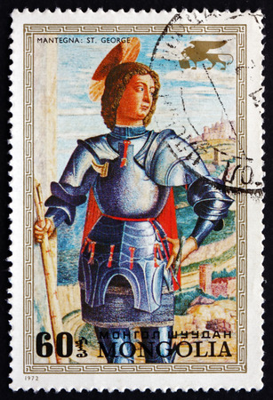 MONGOLIA - CIRCA 1972: a stamp printed in Mongolia shows St. George, Painting by Andrea Mantegna, Venetian Master, circa 1972 Editorial