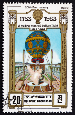 manned: NORTH KOREA - CIRCA 1982: a stamp printed in North Korea shows Montgolfier Brothers Balloon, 1783, Bicentenary of Manned Flight, circa 1982