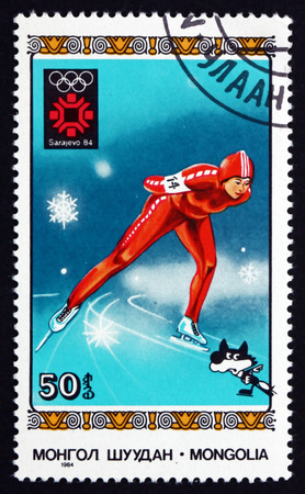 MONGOLIA - CIRCA 1984: a stamp printed in Mongolia shows Speed Skating, 1984 Winter Olympic Games, Sarajevo, circa 1984