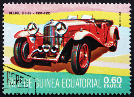 equatorial guinea: EQUATORIAL GUINEA - CIRCA 1977: a stamp printed in Equatorial Guinea shows Delage D8-85, French Luxury Automobile, Oldtimer, 1934, circa 1977