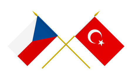 asian business meeting: Flags of Czech Republic and Turkey, 3d render, isolated on white