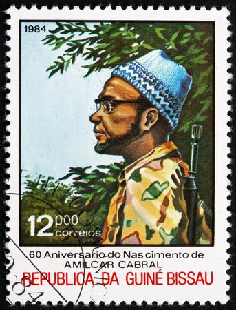 fatigues: GUINEA-BISSAU - CIRCA 1984: a stamp printed in the Guinea-Bissau shows Amilcar Cabral in Combat Fatigues, Political Leader, circa 1984