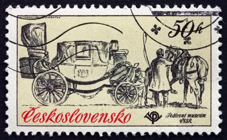 czechoslovakia: CZECHOSLOVAKIA - CIRCA 1981: a stamp printed in the Czechoslovakia shows Mail Coach, Landau, 1800, circa 1981 Editorial