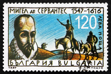 novelist: BULGARIA - CIRCA 1997: a stamp printed in the Bulgaria shows Miguel de Cervantes Saavedra, Spanish Novelist, Poet and Playwright, circa 1997 Editorial
