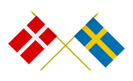 Flags of Denmark and Sweden, 3d render, isolated on white photo