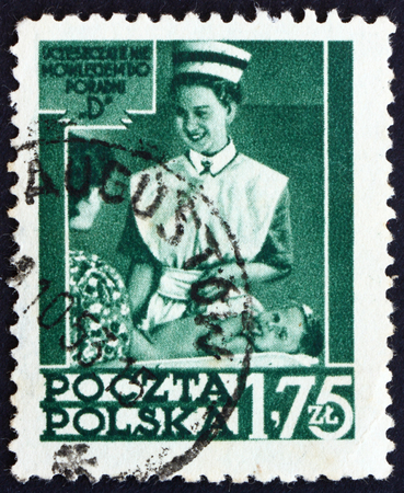 instructing: POLAND - CIRCA 1953: a stamp printed in the Poland shows Nurse Instructing Mother, Polands Social Health Service, circa 1953