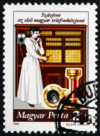 centenary: HUNGARY - CIRCA 1981: a stamp printed in the Hungary shows Telephone Exchange System, Centenary, circa 1981