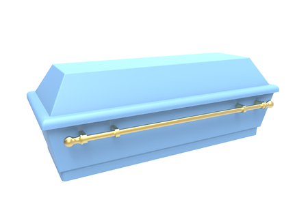 Blue coffin, isolated on white, 3d render photo