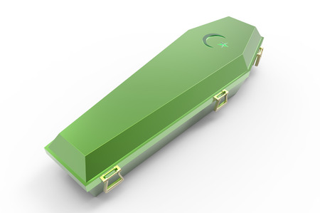 Green coffin, isolated on white, 3d render photo