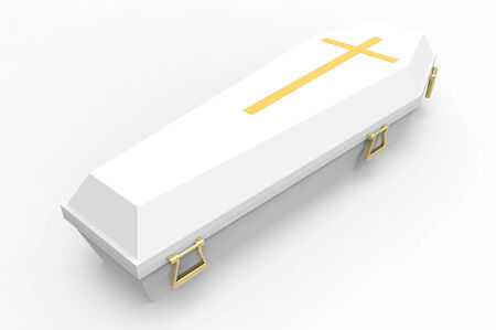White coffin, with shadows, 3d render photo