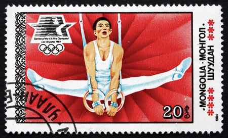 MONGOLIA - CIRCA 1984: a stamp printed in Mongolia shows Gymnastics, 1984 Summer Olympics, Los Angeles, circa 1984