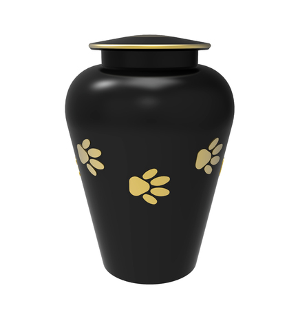 funeral: Black Cremation urn for pets, 3d render, isolated on white Stock Photo