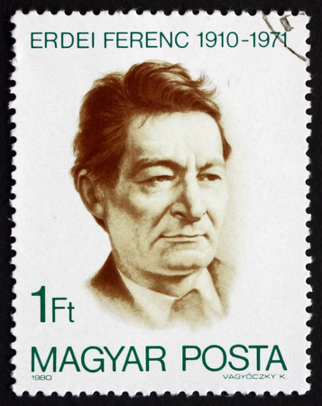 economist: HUNGARY - CIRCA 1980: a stamp printed in the Hungary shows Ferenc Erdei, Economist and Politician, circa 1980