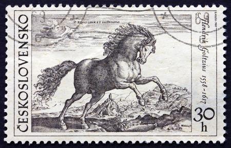 printmaker: CZECHOSLOVAKIA - CIRCA 1969: a stamp printed in the Czechoslovakia shows Prancing Stallion, Engraving by Hendrik Goltzius, circa 1969