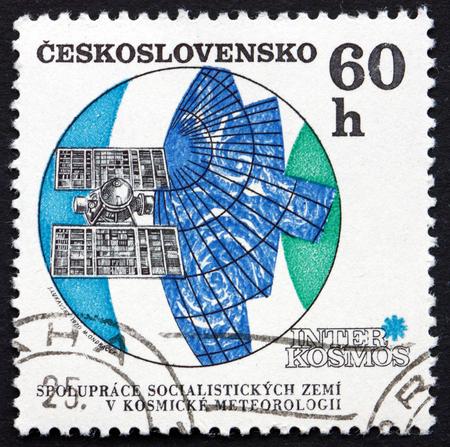 meteorological: CZECHOSLOVAKIA - CIRCA 1970: a stamp printed in the Czechoslovakia shows Molniya Meteorological Satellite, circa 1970
