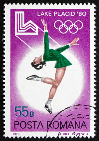 ROMANIA - CIRCA 1979: a stamp printed in the Romania shows Figure Skating, 1980 Winter Olympic Games, Lake Placid, circa 1979