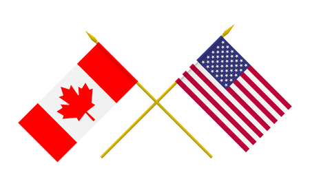 Flags of USA and Canada, 3d render, isolated on white photo
