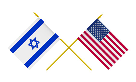 Flags of USA and Israel, 3d render, isolated on white photo