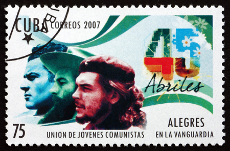che guevara: CUBA - CIRCA 2007: a stamp printed in the Cuba shows Union of Young Communists, 45th Anniversary, circa 2007 Editorial
