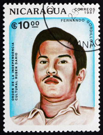 essayist: NICARAGUA - CIRCA 1987: a stamp printed in Nicaragua shows Fernando Gordillo C., Poet, Novelist and Essayist, circa 1987