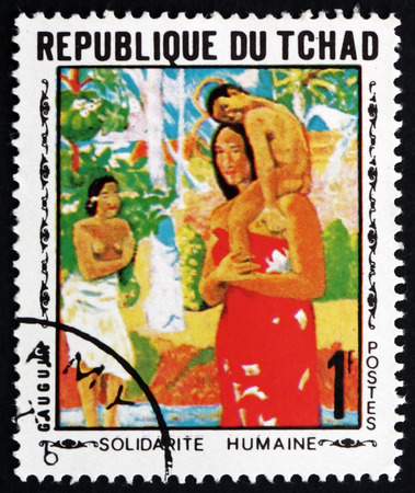 printmaker: CHAD - CIRCA 1969: a stamp printed in Chad shows Mother and Child, Painting by Gauguin, circa 1969