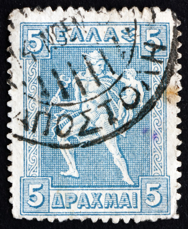 ursa minor: GREECE - CIRCA 1922: a stamp printed in the Greece shows Hermes Carrying Infant Arcas, Design from Greek Coin, circa 1922 Editorial