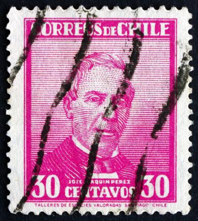 joaquin: CHILE - CIRCA 1934: a stamp printed in the Chile shows Jose Joaquin Perez Mascayano, Chilean Politician, President of Chile 1861-1871, circa 1934