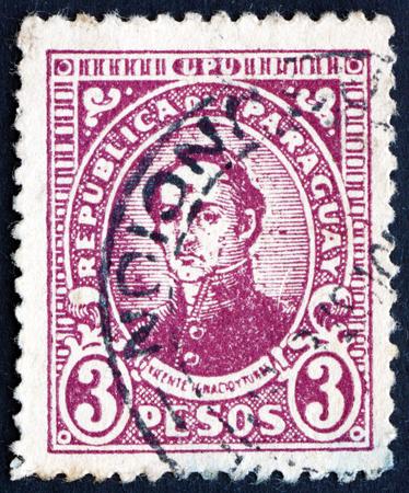 ignacio: PARAGUAY - CIRCA 1936: a stamp printed in Paraguay shows Ignacio Iturbe, Paraguayan Fighter, circa 1936