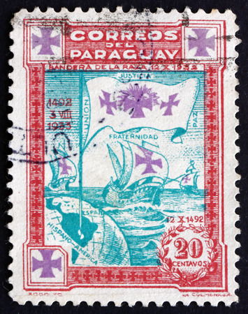 PARAGUAY - CIRCA 1933: a stamp printed in Paraguay shows Flag with Three Crosses, Caravels of Columbus, circa 1933