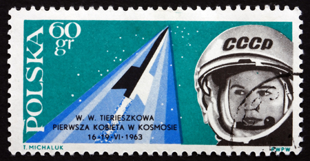 tereshkova: POLAND - CIRCA 1963: a stamp printed in the Poland shows Valentina Tereshkova, First Woman Cosmonaut, circa 1963