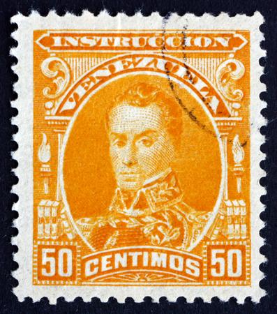 the liberator: VENEZUELA - CIRCA 1904: un francobollo stampato in mostra Venezuela Simon Bolivar, liberatore, rivoluzionario, Ritratto, secondo il presidente del Venezuela, 1813-1814, circa 1904