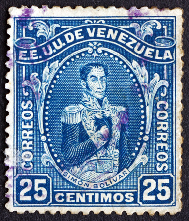 VENEZUELA - CIRCA 1914: a stamp printed in the Venezuela shows Simon Bolivar, Liberator, Revolutionary, Portrait, 2nd President of Venezuela, 1813 - 1814, circa 1914