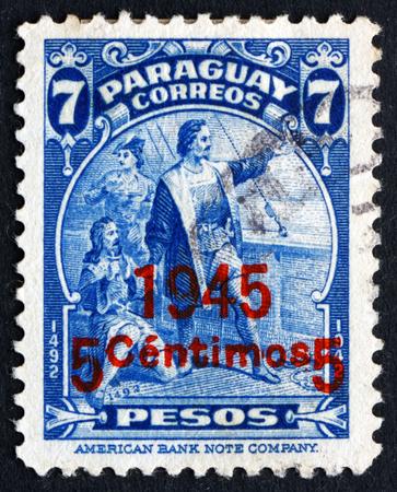 colonizer: PARAGUAY - CIRCA 1945: a stamp printed in Paraguay shows Christopher Columbus, Cristobal Colon, Explorer, Colonizer, Navigator, circa 1945