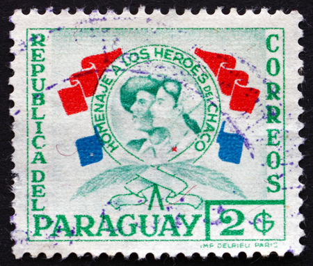 chaco: PARAGUAY - CIRCA 1957: a stamp printed in Paraguay shows Heroes of the Chaco War, circa 1957
