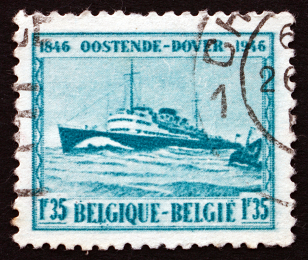 baudouin: BELGIUM - CIRCA 1946: a stamp printed in the Belgium shows M. S. Prince Baudouin, Centenary of the Steamship between Ostend and Dover, circa 1946