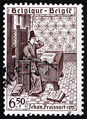 jehan: BELGIUM - CIRCA 1977: a stamp printed in the Belgium shows Jehan Froissart, 600th Anniversary of Publication of 1st Volume of the Cronicles of Jehan Froissart, circa 1977 Editorial