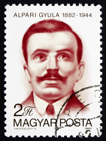 anti fascist: HUNGARY - CIRCA 1982: a stamp printed in the Hungary shows Gyula Alapri, Journalist, Communist Politician, Anti-fascist Martyr, circa 1982