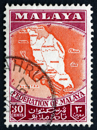 malaya: MALAYA - CIRCA 1957: a stamp printed in Malaya shows Map of Federation of Malaya, circa 1957