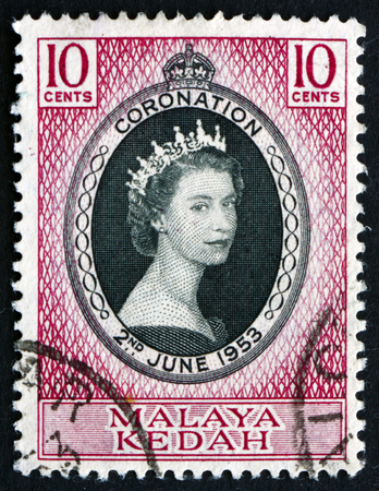 malaya: MALAYA - CIRCA 1953: a stamp printed in Malaya, Kedah shows Portrait of Queen Elizabeth II, circa 1953