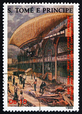 jeune: SAO TOME AND PRINIPE - CIRCA 1988: a stamp printed in Sao Tome and Principe shows Airship Le Jeune at Mooring Pad, Paris, 1903, circa 1988