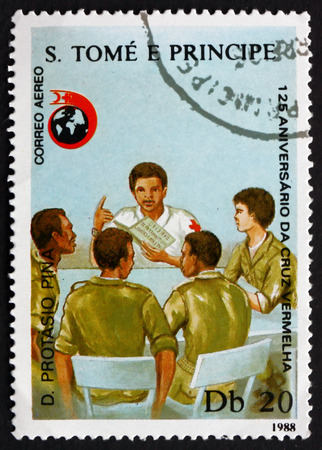 post office: SAO TOME AND PRINIPE - CIRCA 1988: a stamp printed in Sao Tome and Principe shows Instructing Workers, International Red Cross, 125th Anniversary, circa 1988