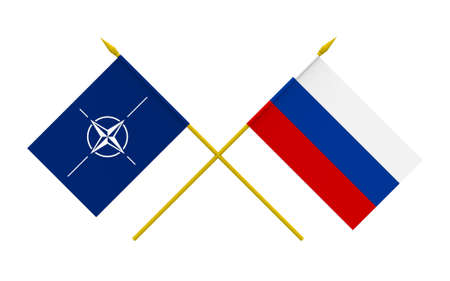 north atlantic treaty organization: Flags of NATO and Russia, 3d render, isolated