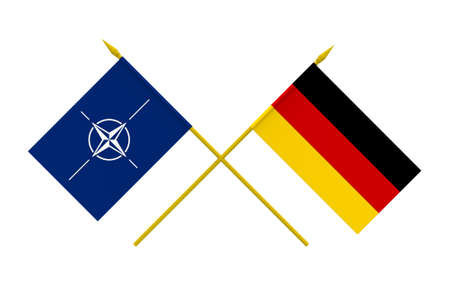 north atlantic treaty organization: Flags of NATO and Germany, 3d render, isolated