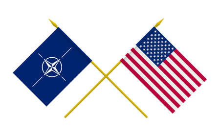 north atlantic treaty organization: Flags of NATO and USA, 3d render, isolated Editorial