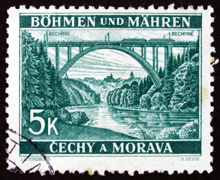 BOHEMIA AND MORAVIA - CIRCA 1940: a stamp printed in the Bohemia and Moravia shows Lainsitz Bridge near Bechyne, circa 1940 Editorial