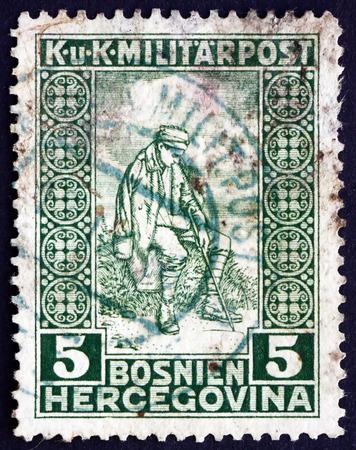 보스니아 헤르체고비나 -1916 년경 : 스탬프 보스니아 헤르체고비나 쇼 상처 입은 군인, 1916 년경에 인쇄 에디토리얼