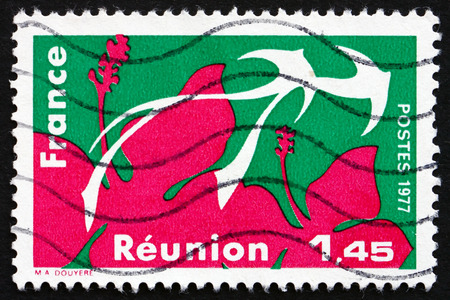 indian postal stamp: FRANCE - CIRCA 1977: a stamp printed in the France shows Reunion, Region of France, circa 1977 Editorial