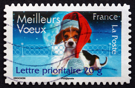 best wishes: FRANCE - CIRCA 2007: a stamp printed in the France shows Best Wishes, Christmas, circa 2007 Editorial
