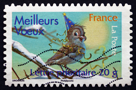 FRANCE - CIRCA 2007: a stamp printed in the France shows Best Wishes, Christmas, circa 2007 Editorial